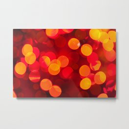 Red yellow sparkles and circles bokeh abstract Metal Print