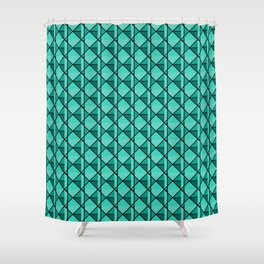Green Geo Shower Curtain