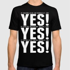YES! YES! YES! Mens Fitted Tee Black MEDIUM
