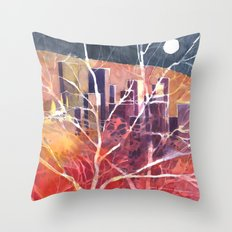 Towers between the trees Throw Pillow