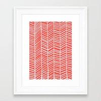 herringbone Framed Art Prints featuring Coral Herringbone by Cat Coquillette