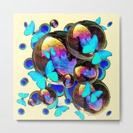 IRIDESCENT  BUBBLES BLUE BUTTERFLIES PEACOCK EYES ART DESIGN decor, furnishings Metal Print