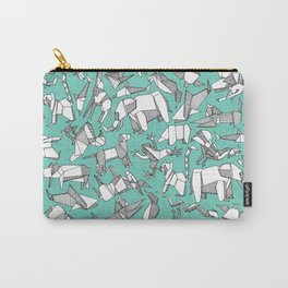 origami animal ditsy mint Carry-All Pouch