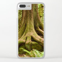 Old Growth Tree Roots Forest Woods Washington Northwest Boulder Geology Outdoors Landscape Clear iPhone Case