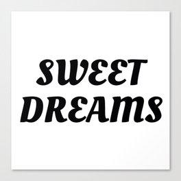 Sweet Dreams in Cursive in Black Canvas Print