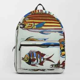 LHistoire Generale des Voyages (1747-1780) by an unknown artist a collage of colorful rare exotic fi Backpack