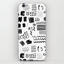 Modern black white watercolor brushstrokes shapes geometrical iPhone Skin
