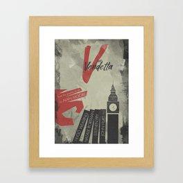 V fo r vendetta, minimal movie poster, Natalie Portman, Stephen Fry, film based on the graphic n Framed Art Print
