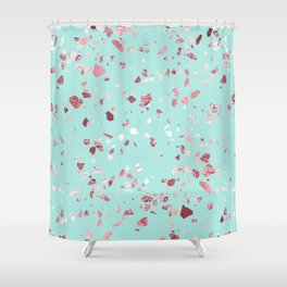 Turquoise and Rosegold Glitter Terrazzo Shower Curtain