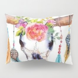 Floral and Feathers Adorned Bull Skull Pillow Sham