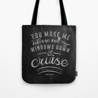 lyrics Tote Bags featuring LYRICS - Cruise by Molly Freze