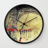 takmaj Wall Clocks featuring Winter in Paris by takmaj