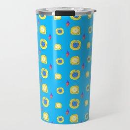 yellow substances in a blue matter Travel Mug
