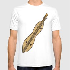 D is for Dulcimer, typed MEDIUM Mens Fitted Tee White