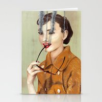 audrey hepburn Stationery Cards featuring Audrey Hepburn by FAMOUS WHEN DEAD
