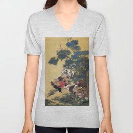 Rooster and Hen with Hydrangeas. Unisex V-Neck