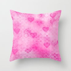 Pink Hearted Throw Pillow
