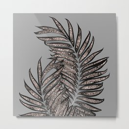 Gray Black Palm Leaves with Rose Gold Glitter #2 #tropical #decor #art #society6 Metal Print
