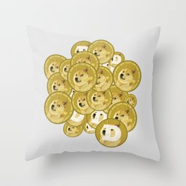 Such coins, so much dogecoins Throw Pillow