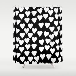 Hearts White on Black Shower Curtain