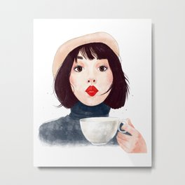 French woman with coffee Metal Print