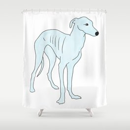 Blue Italian Greyhound Shower Curtain