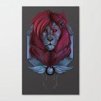 cyberpunk Canvas Prints featuring Cyberpunk Lion by suaveassassin