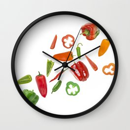 Assorted colorful varieties of hot and sweet peppers isolated on white background Wall Clock