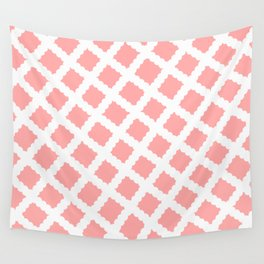 Coral Pink & White Diagonal Grid Pattern - Black & Pink - Mix & Match with Simplicity of Life Wall Tapestry