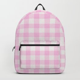 Blush pink white gingham 80s classic picnic pattern Backpack