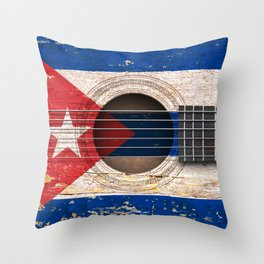 Old Vintage Acoustic Guitar with Cuban Flag Throw Pillow