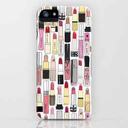 Lipsticks Makeup Collection Illustration iPhone Case