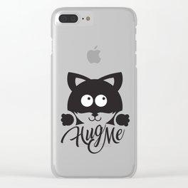 Hug me cute cat illustration Clear iPhone Case