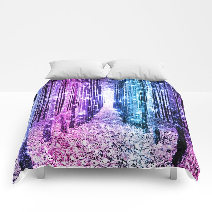Magical Forest : Aqua Periwinkle Purple Pink Ombre Sparkle Comforters