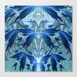 Blue Vintage Floral Oil Elegance Canvas Print