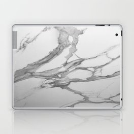 White Marble With Silver-Grey Veins Laptop & iPad Skin
