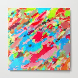 camouflage pattern painting abstract background in green blue pink red orange Metal Print