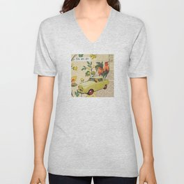 Go, Go, Go - Vintage Collage Unisex V-Neck
