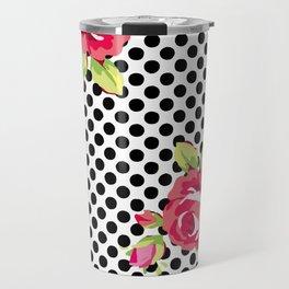Roses on black dots Travel Mug
