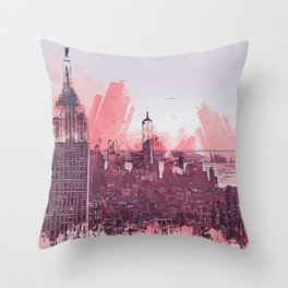 New York Panorama Throw Pillow
