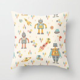 Vintage Inspired Robots in Space Throw Pillow