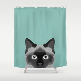 Ezra - Siamese Cat, Cute Kitten Retro Cat Art cell phone case, siamese, cute cat Shower Curtain