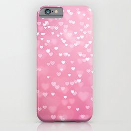 Pretty Pink Bokeh Love Hearts iPhone Case