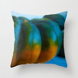 Blue Light Pumpkin Throw Pillow