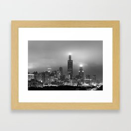 Chicago City Skyline Architecture with Cloudy Skies - Black and White Framed Art Print
