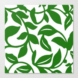 PALM LEAF VINE SWIRL IN GREEN AND WHITE Canvas Print