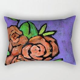 Orange Whimsical Roses Rectangular Pillow