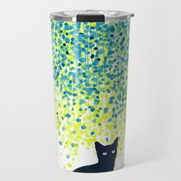 Cat in the garden under willow tree Travel Mug