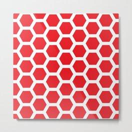 Red on White Modern Honeycomb Design Metal Print