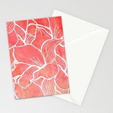 Modern white handdrawn flowers coral watercolor pattern Stationery Cards